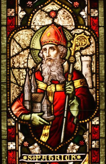"""Saint Patrick (window)"" by Sicarr - Flickr. Licensed under CC BY 2.0 via Commons - https://commons.wikimedia.org/wiki/File:Saint_Patrick_(window).jpg#/media/File:Saint_Patrick_(window).jpg"